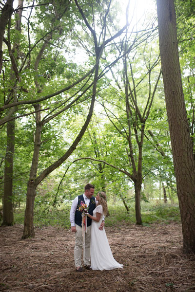 Unedited Bohemian Wedding Portrait in Woods